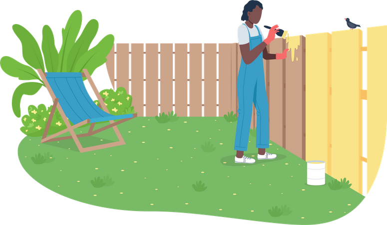 African American woman painting garden fence Illustration
