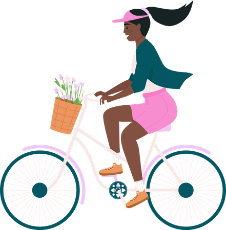 African American woman riding bicycle Illustration