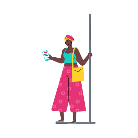 African american woman using mobile phone in subway train Illustration