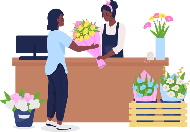 African American women buying and selling flowers Illustration