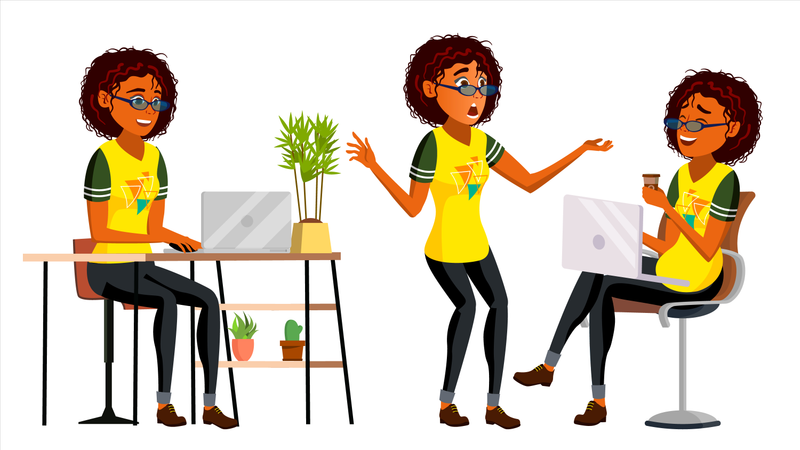 African Black Business Woman Character Illustration
