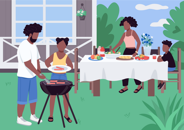 African family enjoying barbecue party in the park Illustration
