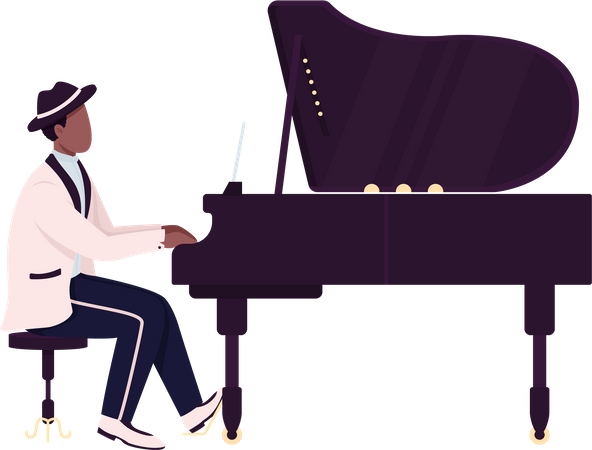 African piano player Illustration