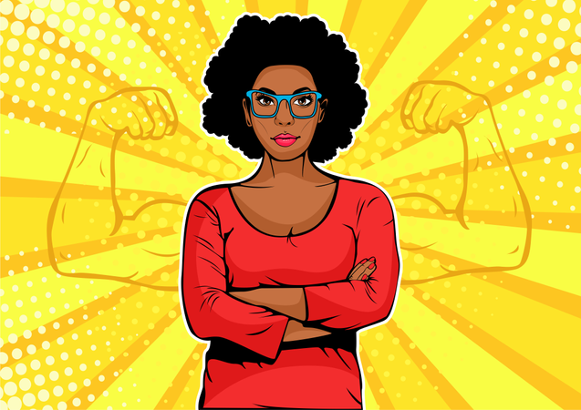 Afro american businesswoman with muscles pop art retro style Illustration
