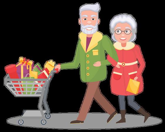 Aged couple doing christmas shopping Illustration