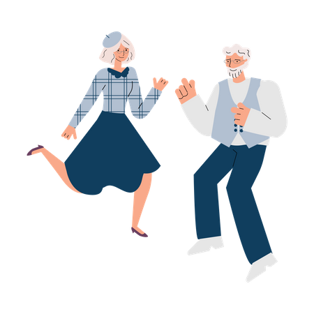 Aged man and woman dancing Illustration