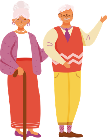 Aged smiling man and woman Illustration