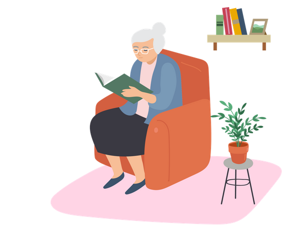 Aged woman reading book Illustration