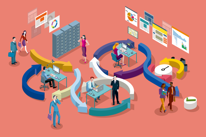 Agile development workflow method Illustration