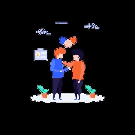 Agreement between business partners Illustration