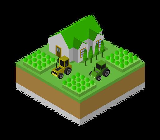 Agricultural Home Illustration