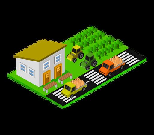 Agricultural House Illustration