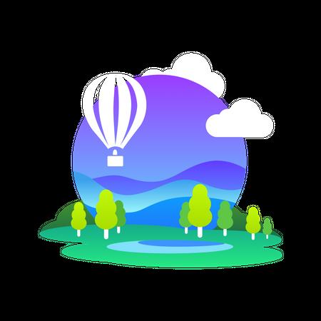 Air Balloon travel Illustration