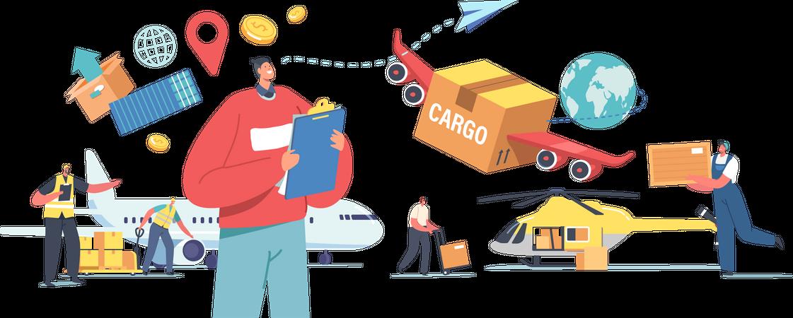 Air Cargo Transportation Illustration