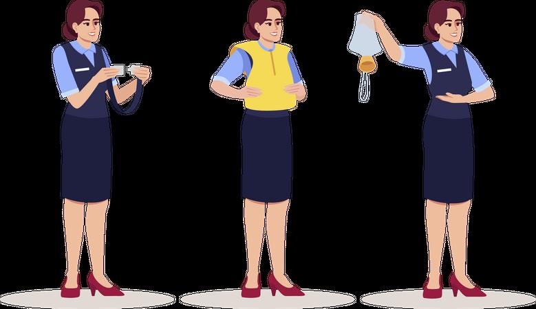 Air hostess explaining emergency precautions Illustration
