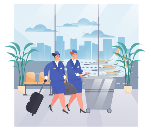 Air Hostess with Luggage Illustration