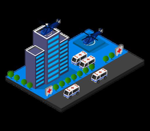 Air Medical facility Illustration