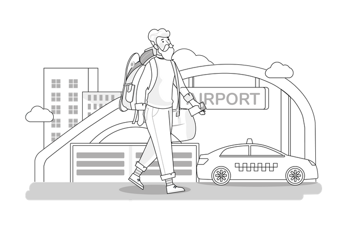 Air traveler Illustration