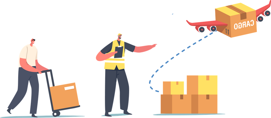 Aircraft Transport Logistics Service Illustration