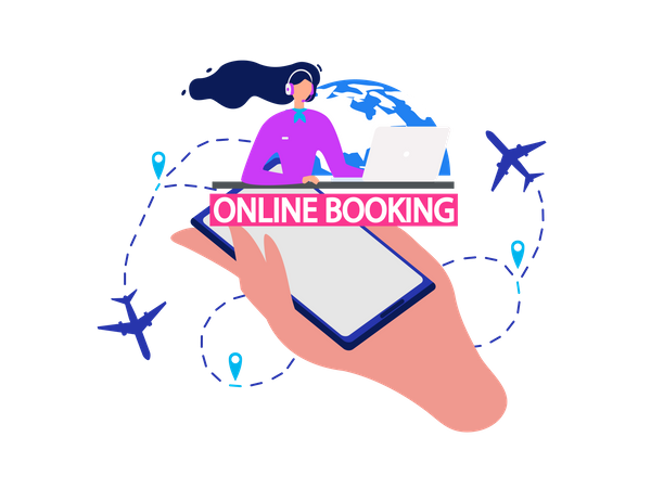Airline Company Services, Flight Tickets Booking Online Service Illustration