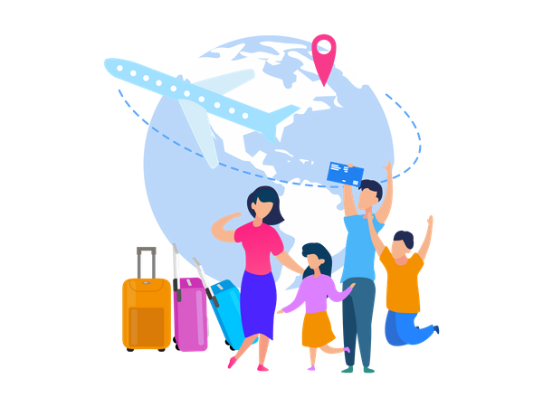 Airline Tickets Booking Online Service Illustration