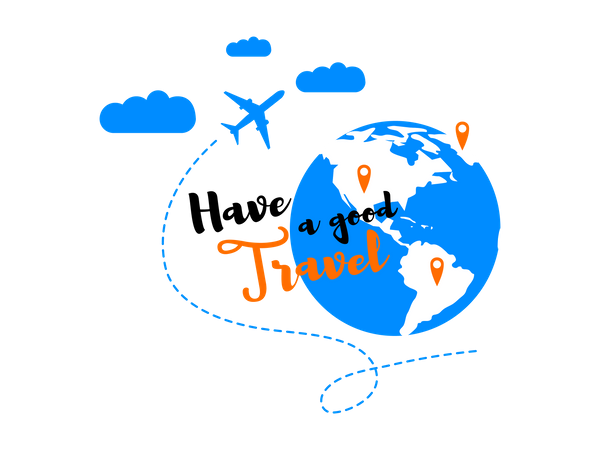 Airliner Flying in Clouds around Globe and Have a good Travel Illustration