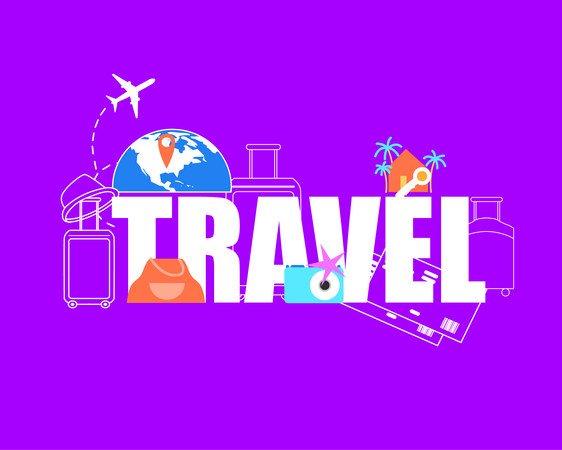 Airplane Flying around World Globe, Destination Pin on Map, Baggage Gags, Airline Tickets Illustration