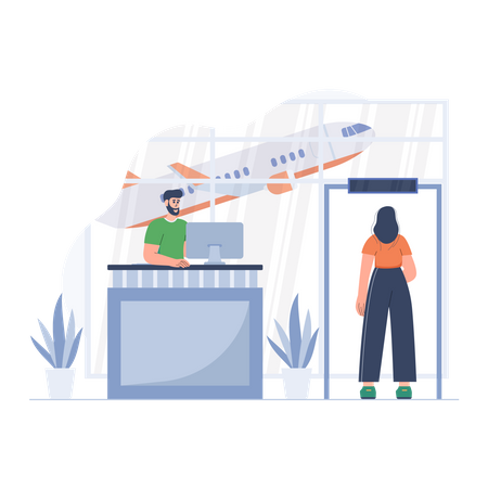 Airport check in counter Illustration