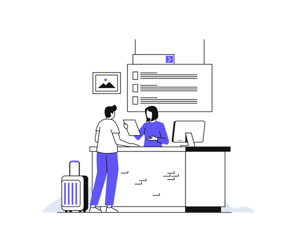 Airport Check-in Counter Illustration