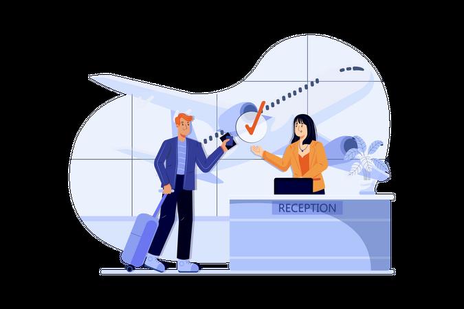 Airport Check-in desk Illustration