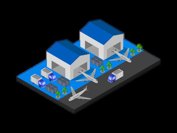 Airport freight logistics Illustration