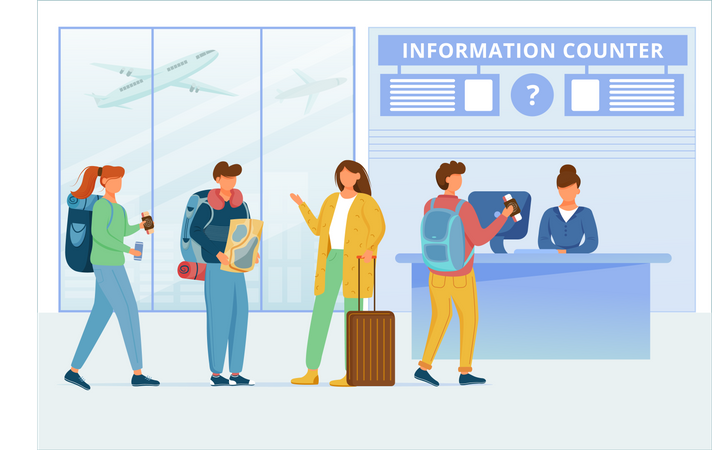 Airport information counter Illustration