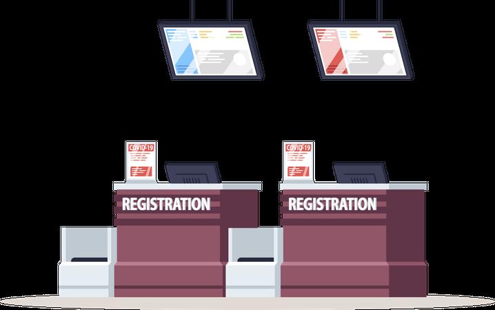 Airport registration counter with coronavirus warning Illustration