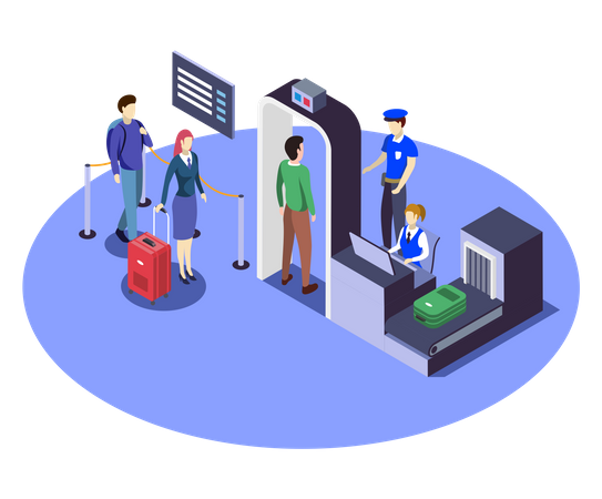 Airport Security Checkpoint Illustration