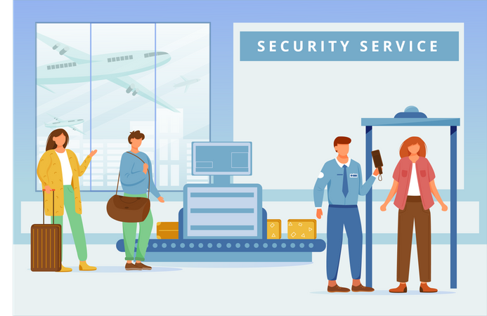 Airport security service Illustration
