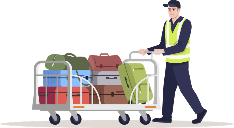 Airport staff transporting luggage Illustration