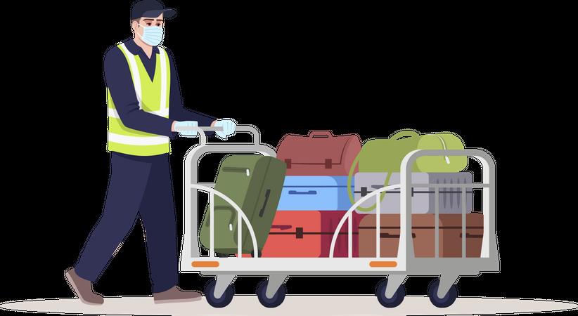 Airport staff wearing mask transporting luggage Illustration