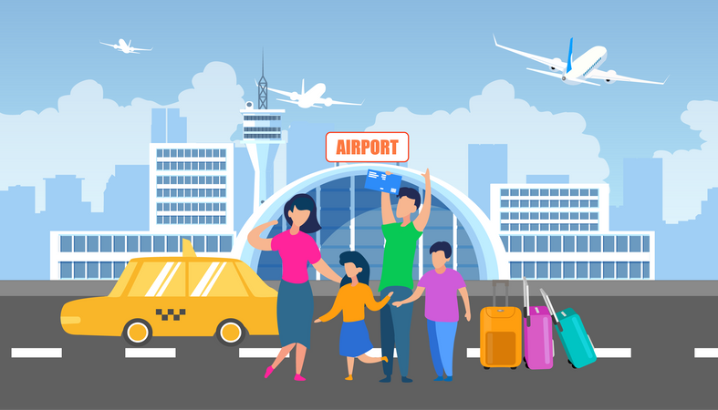 Airport Transfer with Taxi Service Illustration
