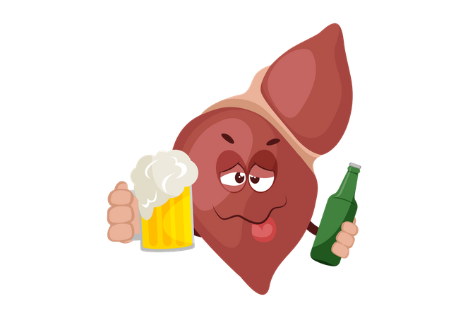 Alcohol is bad for liver Illustration