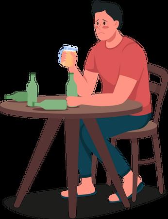 Alcoholic man Illustration