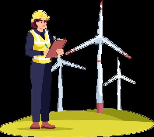 Alternative energy engineer Illustration