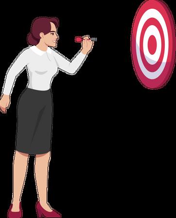 Ambitious woman setting goals Illustration