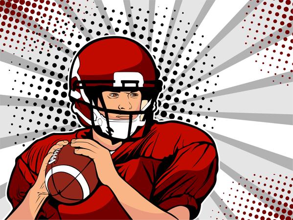 American football athlete Illustration