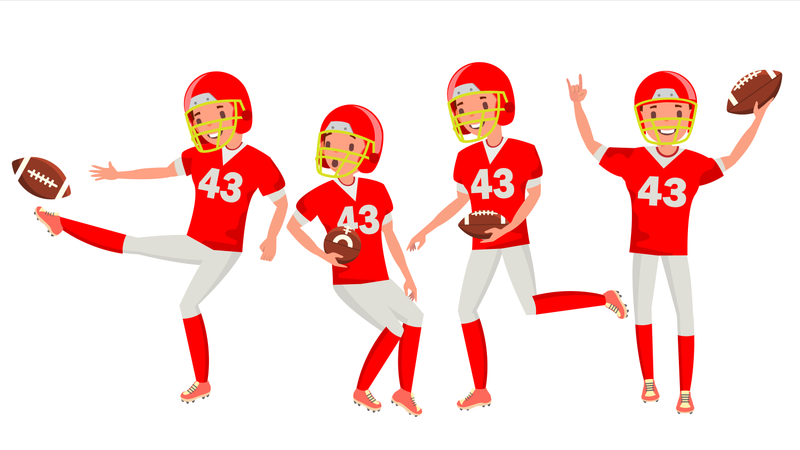American Football Male Player Vector. Match Tournament. Summer Activity. Playing In Different Poses. Man Athlete. Isolated On White Cartoon Character Illustration Illustration