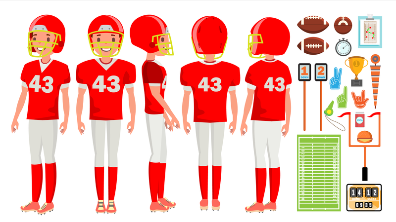 American Football Player Male Vector. Recreation Game. Challenge Banner. Isolated Flat Cartoon Character Illustration Illustration