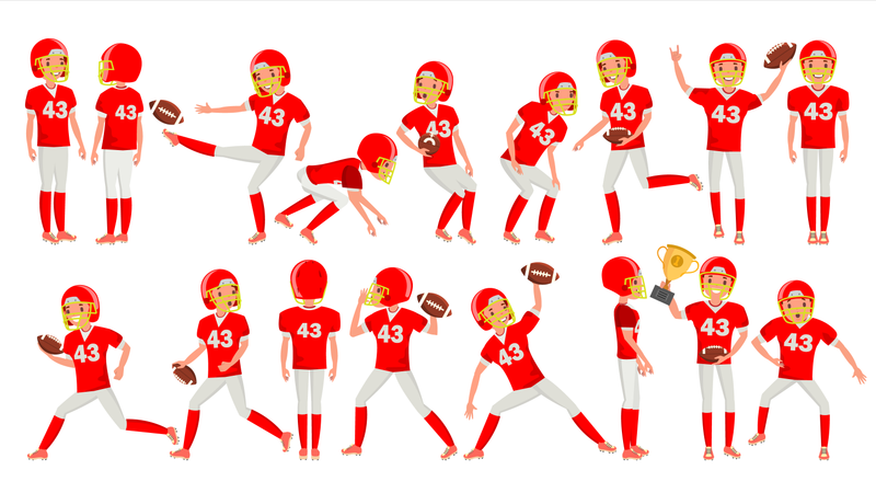 American Football Young Man Player Vector. Red White Uniform. Stadium Football Game. Man. Flat Athlete Cartoon Illustration Illustration