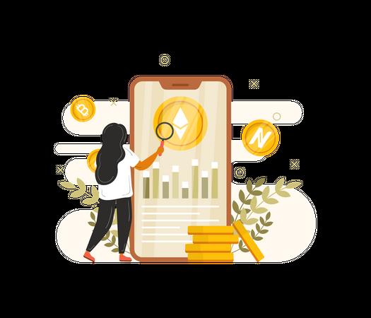Analysing cryptocurrency Illustration
