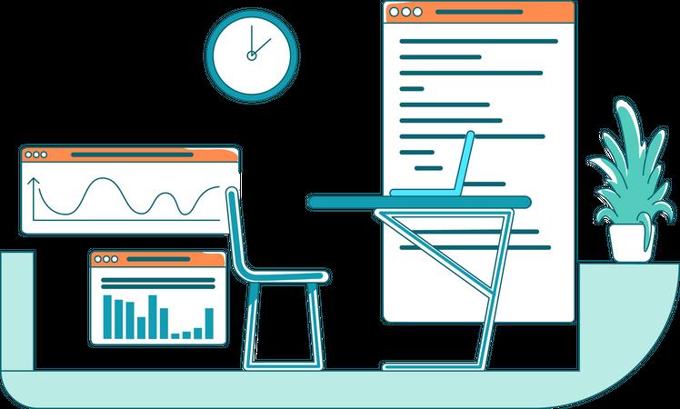 Analyst workplace Illustration