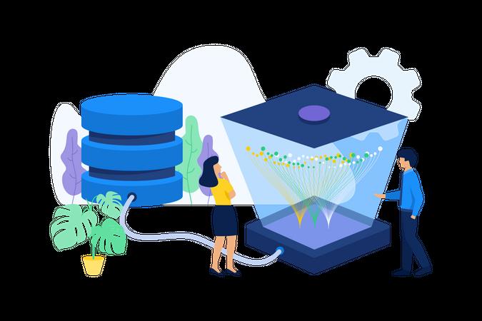 Analysts analyzing server data Illustration