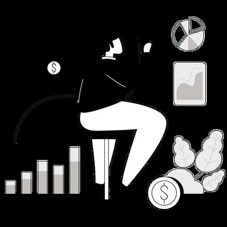 Analyzer doing financial analysis Illustration
